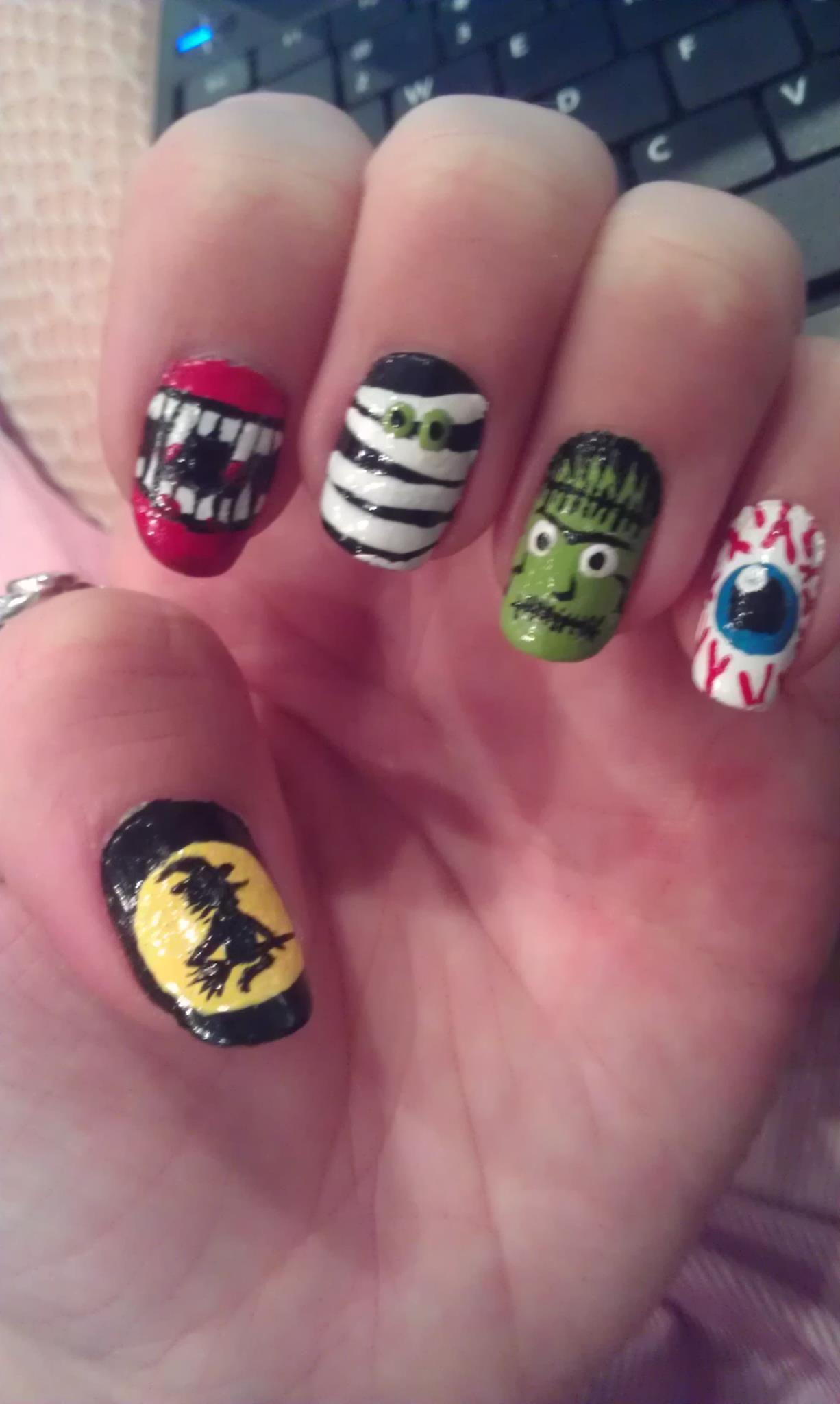 Halloween Frankenstein Vampire Mummy Witch Nail Art My Nails