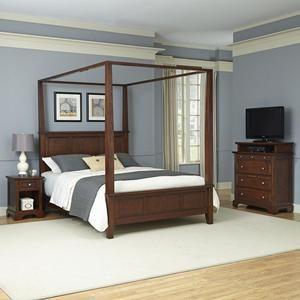 queen canopy bed nightstand and media chest in cherry nebraska