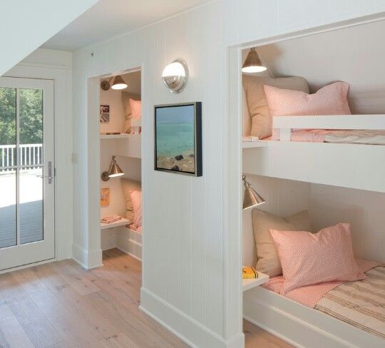 Bedroom: Splendid Built In Bunk Bed Ideas For Bedroom Inside Beach Decor  Ideas Also Splendid Beadboard Wall Built In, Built In Beds For Kids With  Cute ...