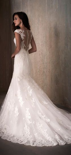 Adrianna Papell | Cap Sleeve Lace Applique Mermaid Wedding Dress with Illusion Back - 31018