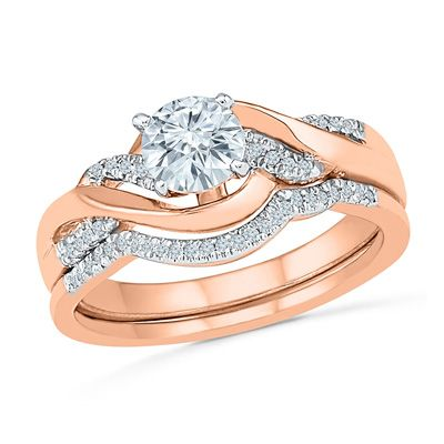 Lab Created White Sapphire And Diamond Accent Twist Bridal Set In 10K Rose Gold