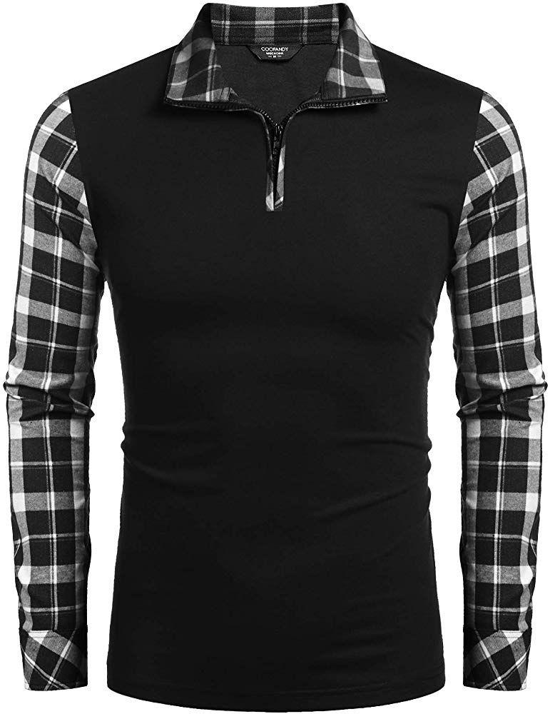 Coofandy mens casual long sleeve plaid shirt