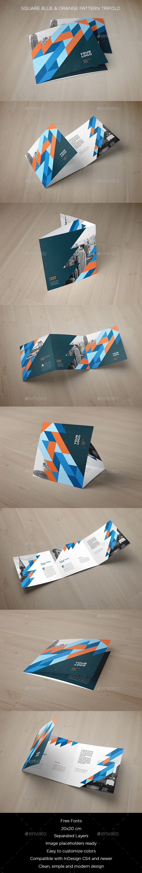Square Blue & Orange Pattern Trifold Brochure Template InDesign INDD