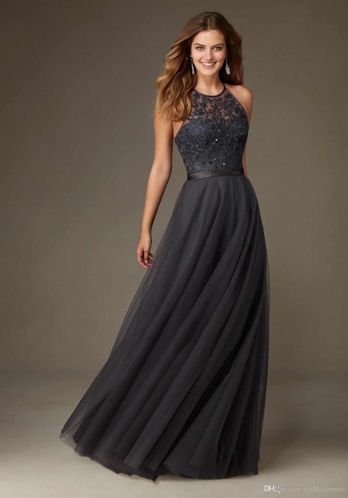 charcoal gray bridesmaid dresses long halter sleeveless a line