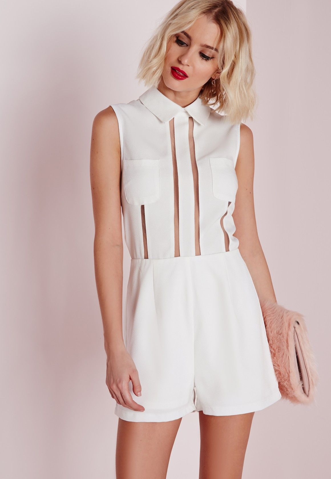 60f4b421091 Missguided - Mesh Stripe Collared Playsuit White