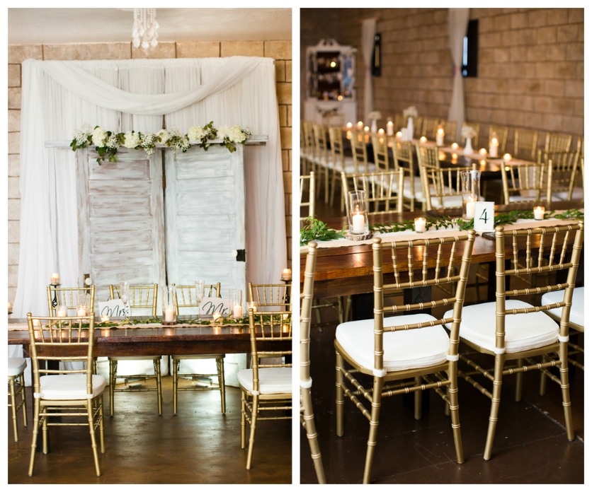 Brown Wooden Farm Tables With Ivory Florals And Gold Chiavari Chairs At  Rustic, Barn Tampa