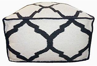 Vase Pouf, Black/Ivory