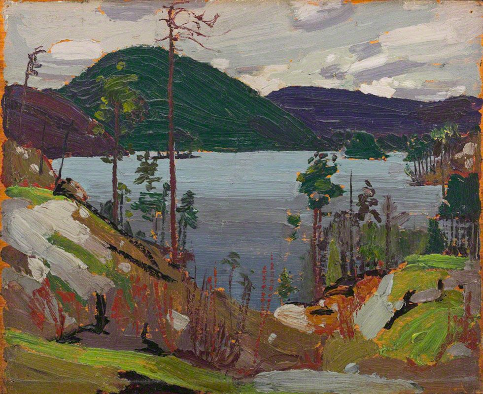 New Tom Thomson Aura Lee Lake 1916 Oil on Wood 21 4 x 26 7 cm Contemporary - New lake painting Photos