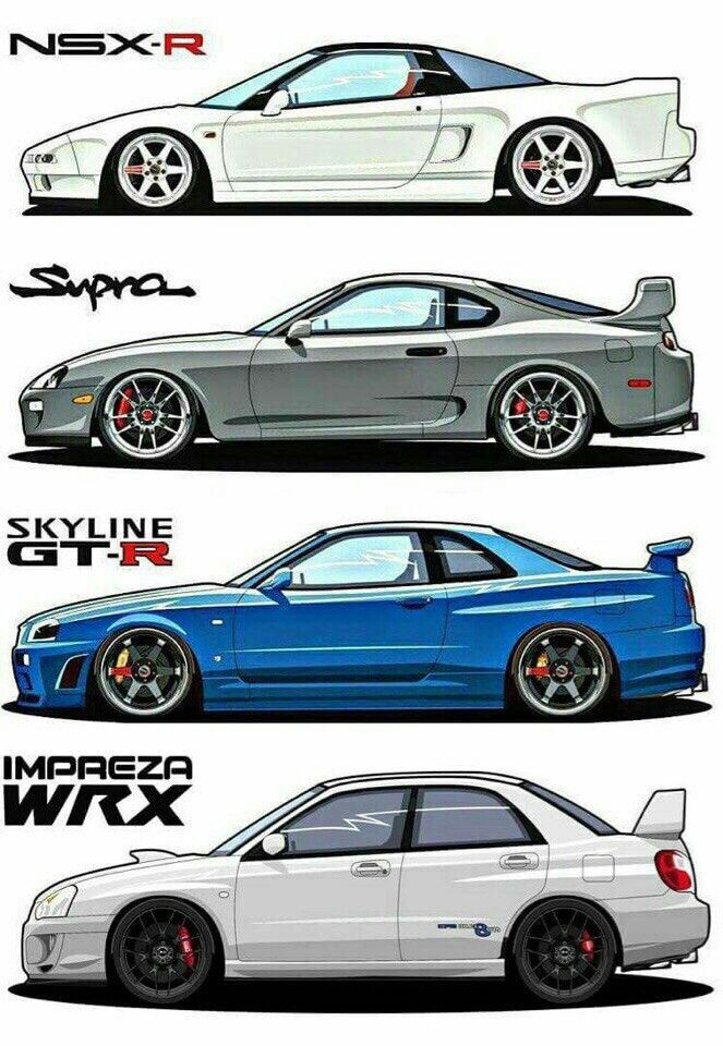 Replace WRX with Evo and add RX7 & R35