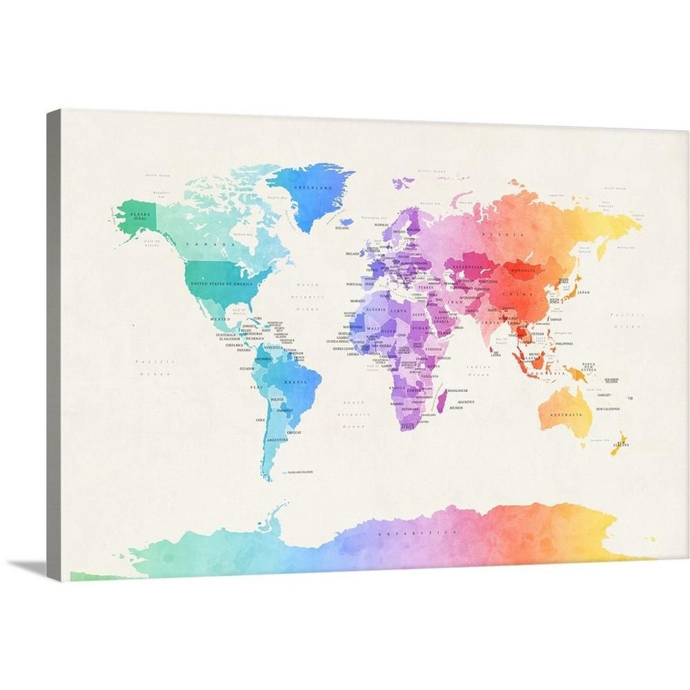 Watercolour Political Map of the World by Michael Tompsett Canvas