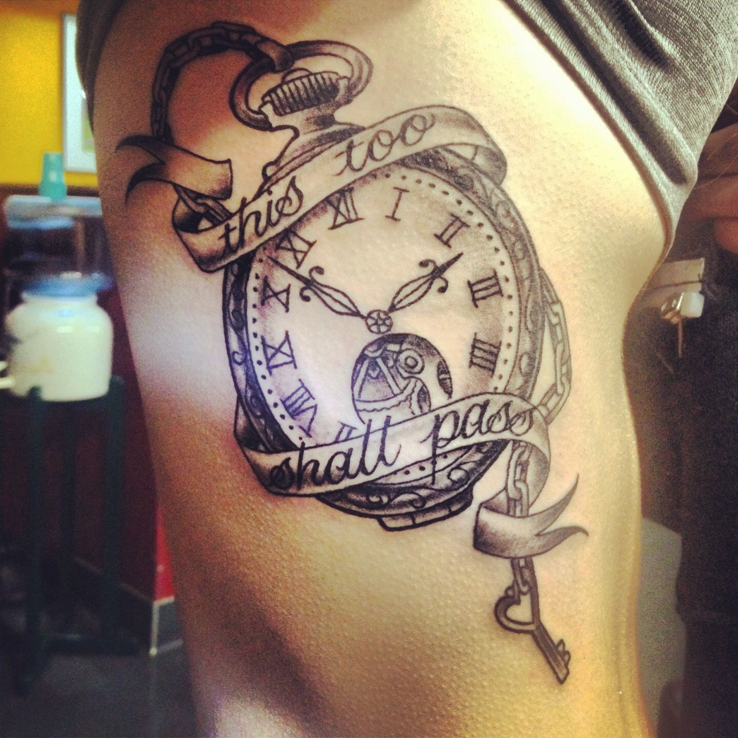 This Too Shall Pass Pocket Watch Tattoo No Color And On The Rib Cage Clock Tattoo Watch Tattoos Clock Tattoo Sleeve