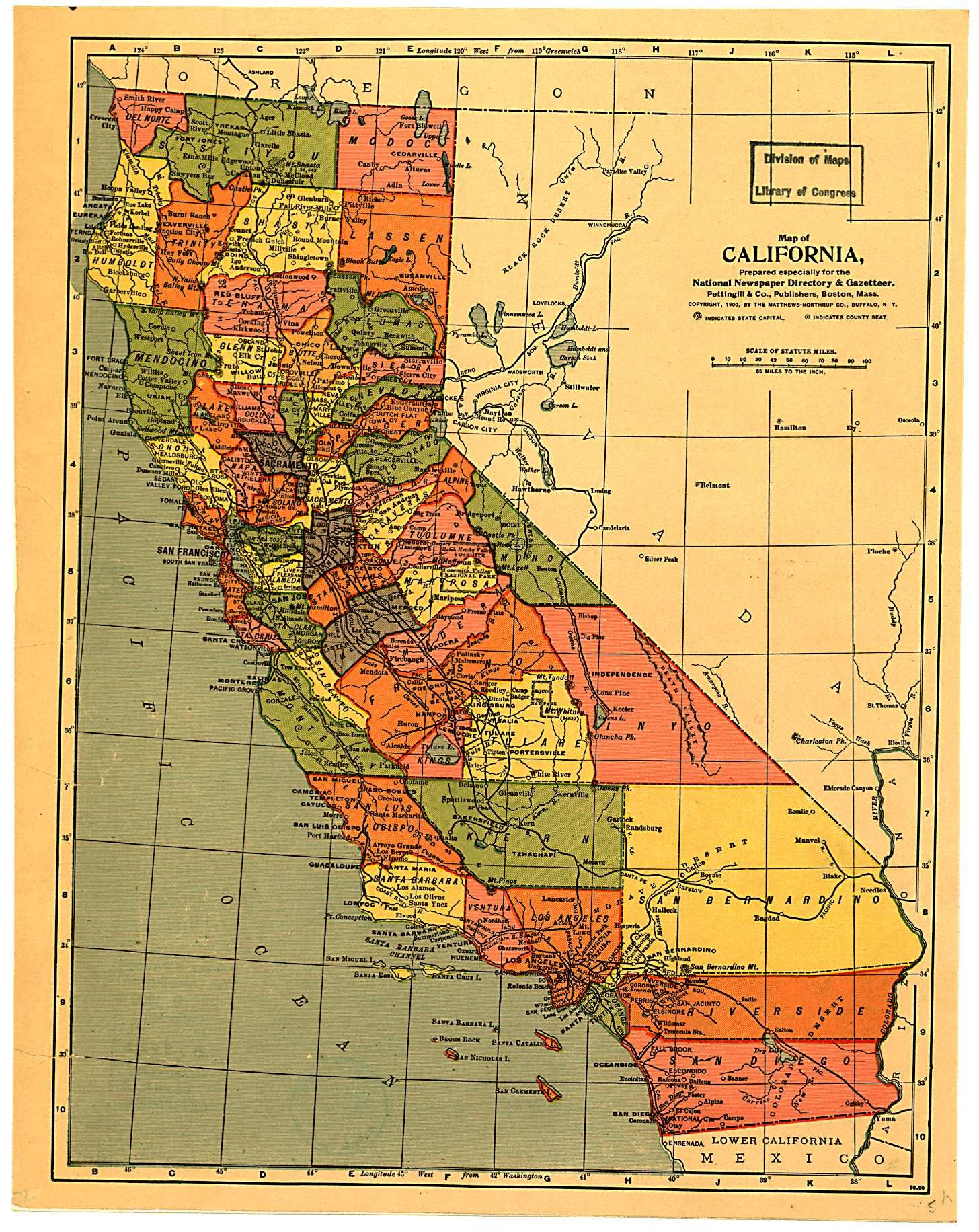 California Map 1900 Maps