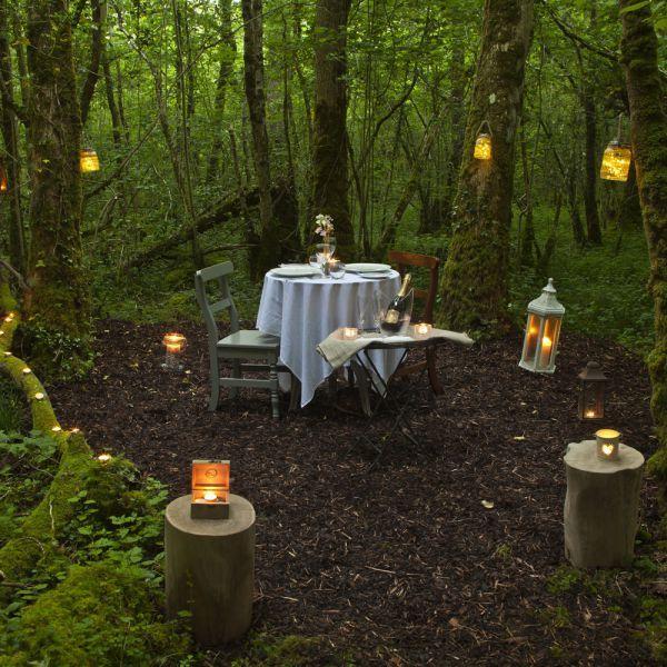 Romantic dinner at Finn Lough Resort in Northern Ireland.