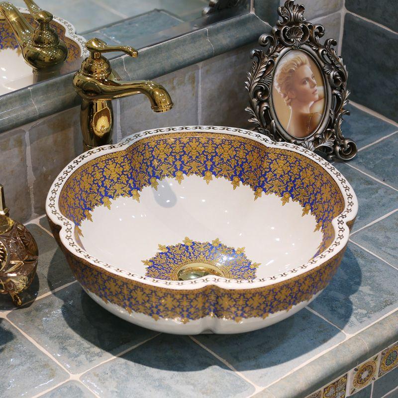 Lavabo Europa.Cheap Europa Stile Vintage Handmade Di Figura Del Fiore Di