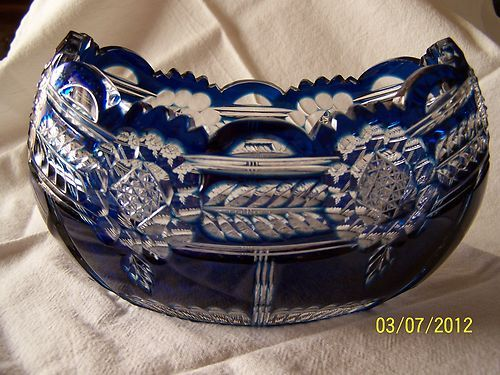BOHEMIAN CZECH ROYAL COBALT BLUE CUT TO CLEAR CRYSTAL BOWL