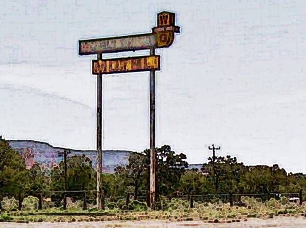 Old Whiting Brothers Motel and Service Station Sign on Route 66, Continental Divide Route 66, New Mexico