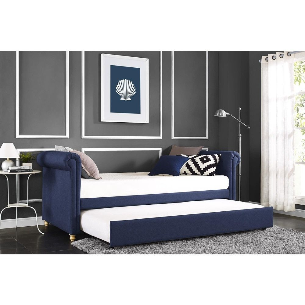 DHP Sophia Navy Linen Upholstered Daybed and Trundle | Overstock.com ...