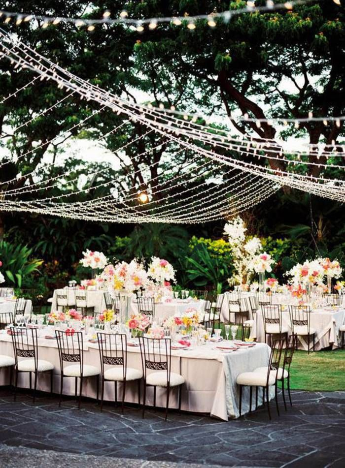 Mariage champtre chic et si on organisait un mariage champtre wedding reception lighting outdoor canopy of lights love the long tables junglespirit Choice Image