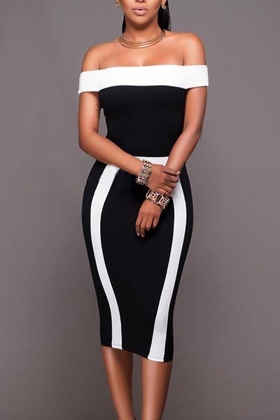 Trendy Bateau Neck Sleeveless Black-white Patchwork Polyester Sheath