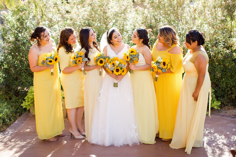 Bridesmaids In Different Shades Of Yellow Arizona Wedding