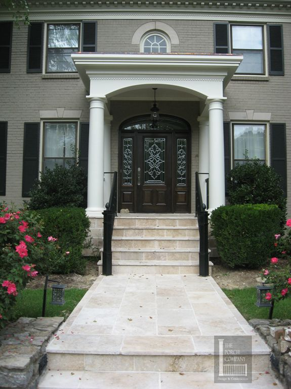 Flat roof front porch portico nashville paths porches for Flat roof porches