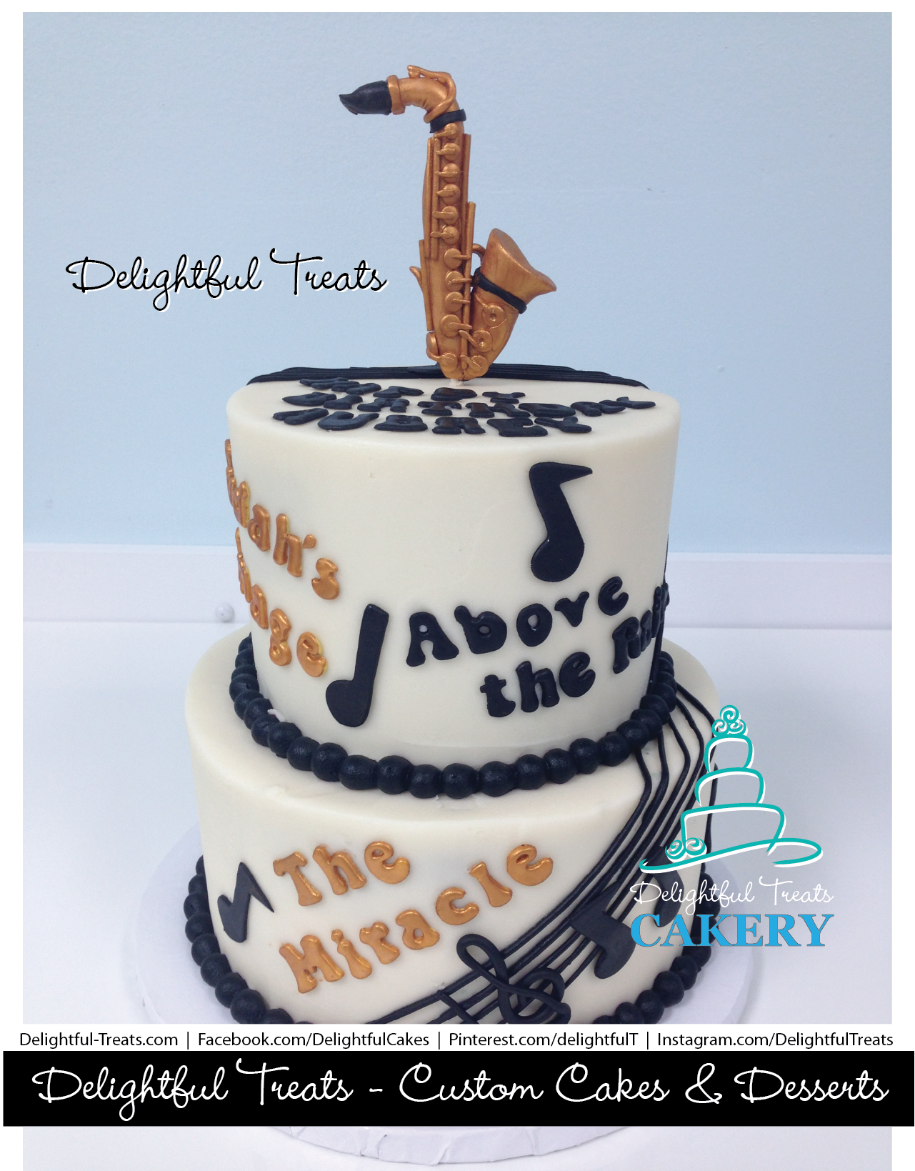 Saxophone Music Cake Musicians Birthday Cake by Delightful Treats