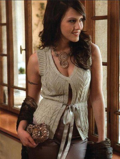 женский жилет связанный спицами схема вязания