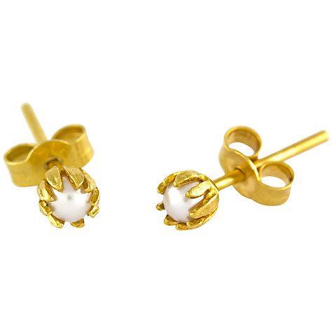 Alex Monroe 22ct Gold Plated Sterling Silver Baby Pearl Bud Stud Earrings At John Lewis
