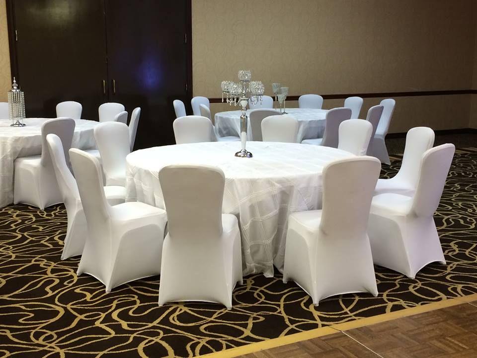 White Triple Pintuck Table Cloth White Spandex Chair Cover