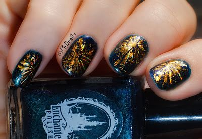 New Year S Fireworks With Holographic Foil Stamping Nail Art Holographic Foil Foil Stamping