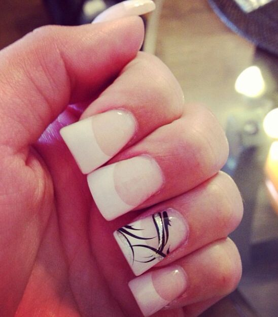 French Acrylic Tips With Ring Finger Design Nail Colors And Art