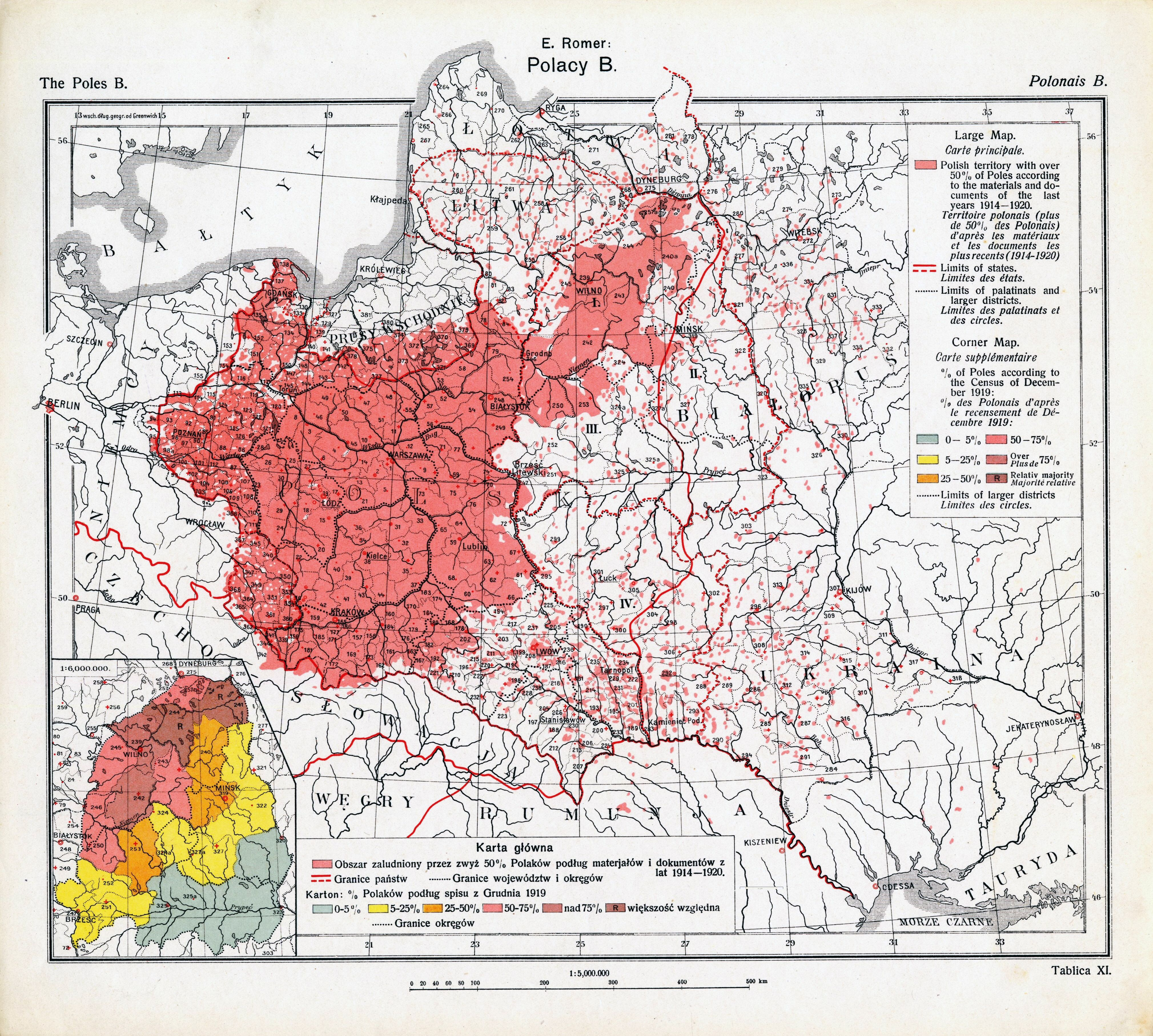 A 1921 map of Polish majority areas in Europe after the end of World