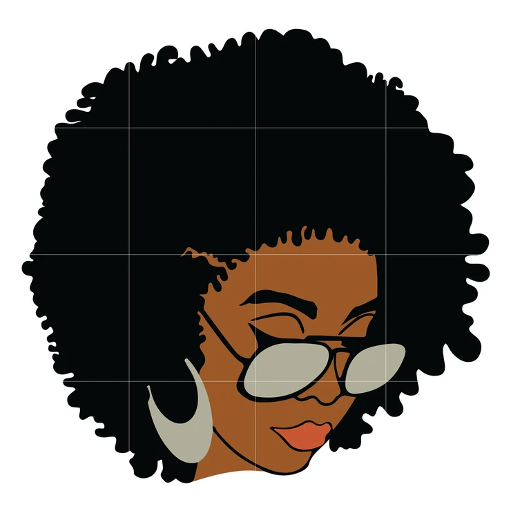 Black Woman With Glasses Svg Afro Woman Svg African American Woman Svg Dxf Eps Png Digital File In 2021 Afro Women Black Woman Silhouette African American Women