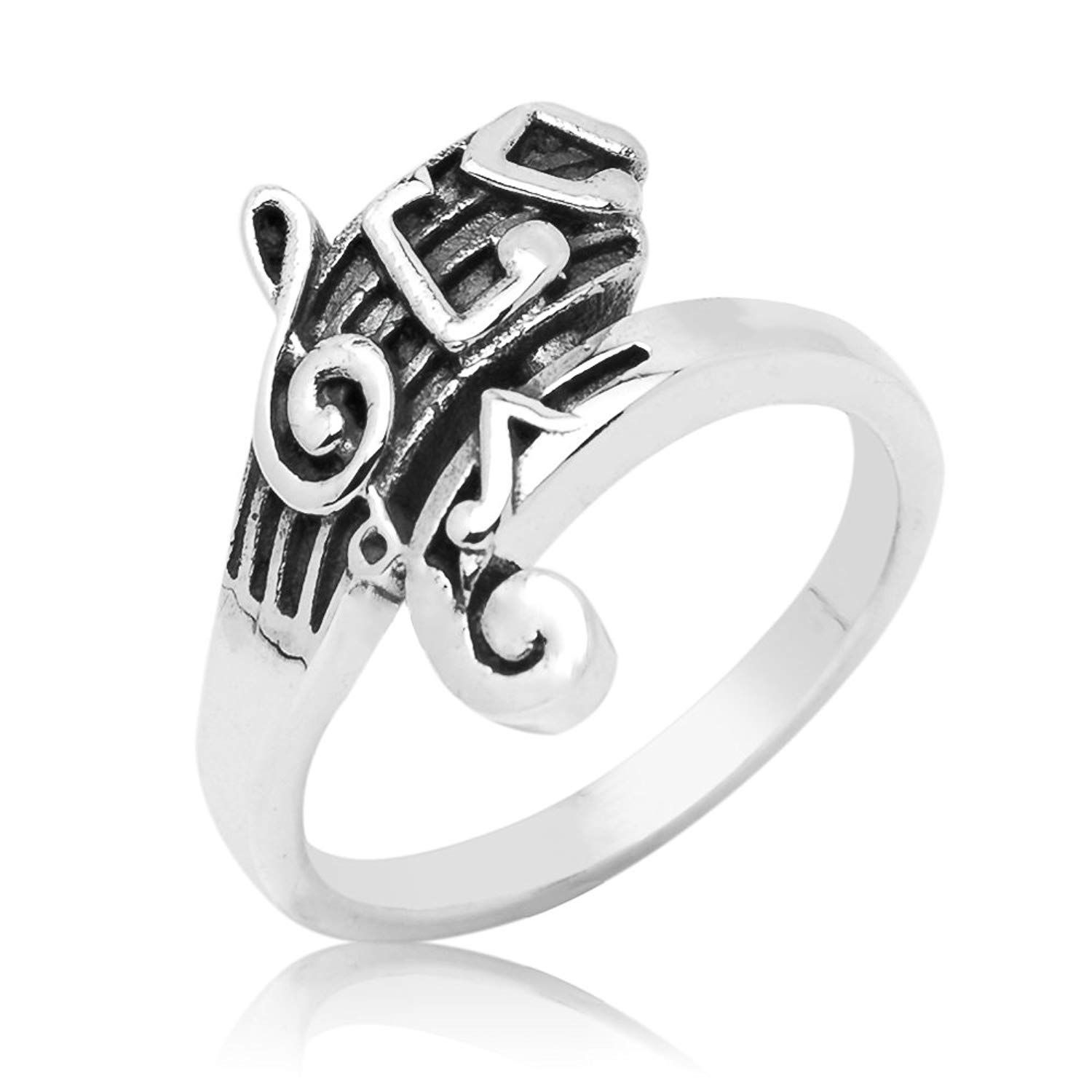 Music Note /& G-Clef Cz  .925 Sterling Silver Ring Sizes 4-10