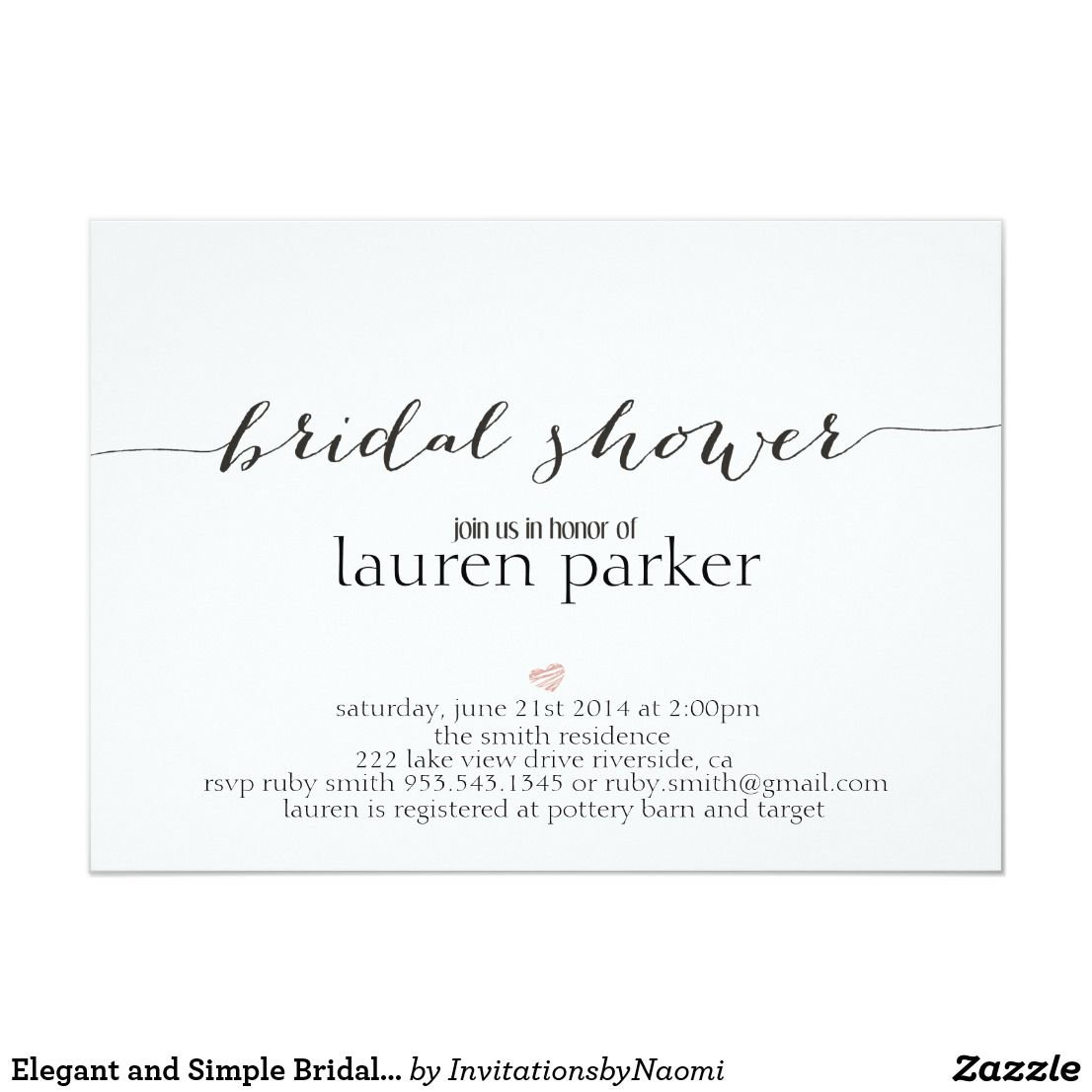 Elegant And Simple Bridal Shower Invitation Zazzle Com With