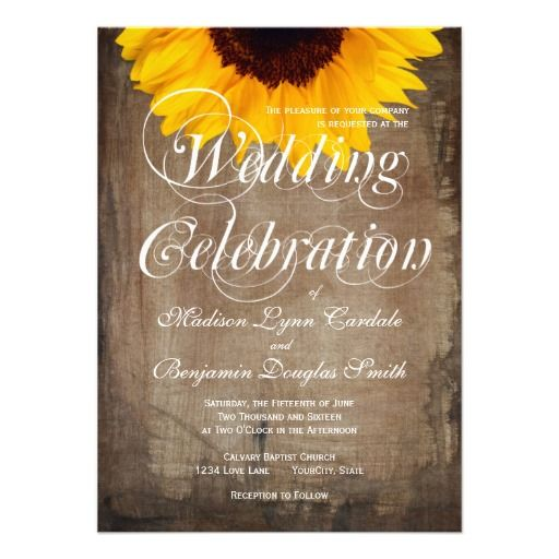 Rustic Country Sunflower Wedding Invitations on rustic brown