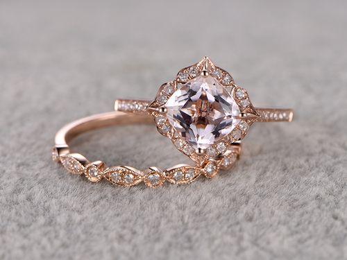 7mm Cushion Morganite Wedding Set Diamond Bridal Ring 14k Rose Gold