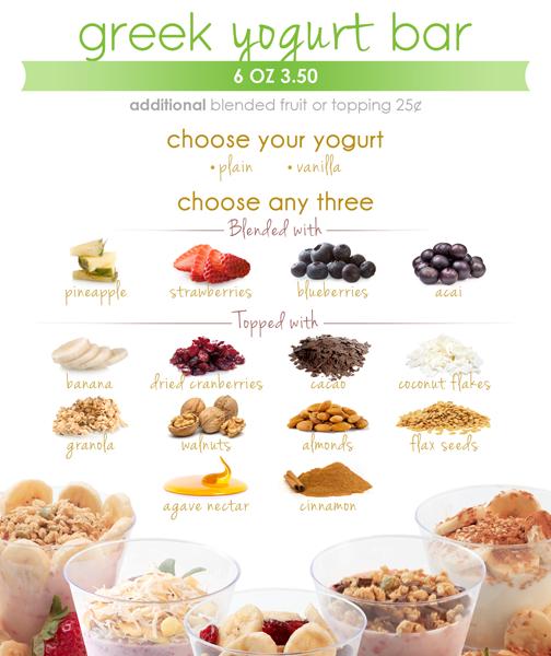 yogurt bar menu shake smart