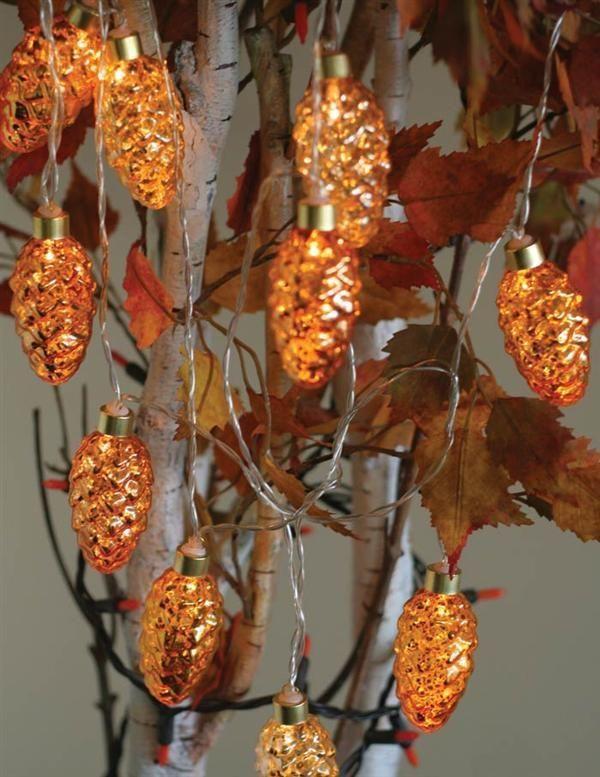 Mercury Glass Rust Led String Lights Pine Cone Christmas Halloween