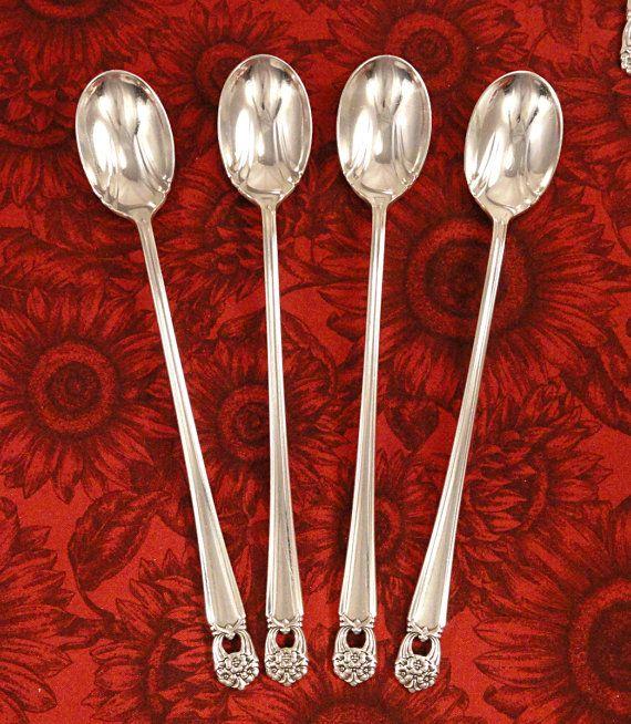1847 Rogers Bros Eternally Yours 4 Tea Spoons Silver Plate Flatware Vintage