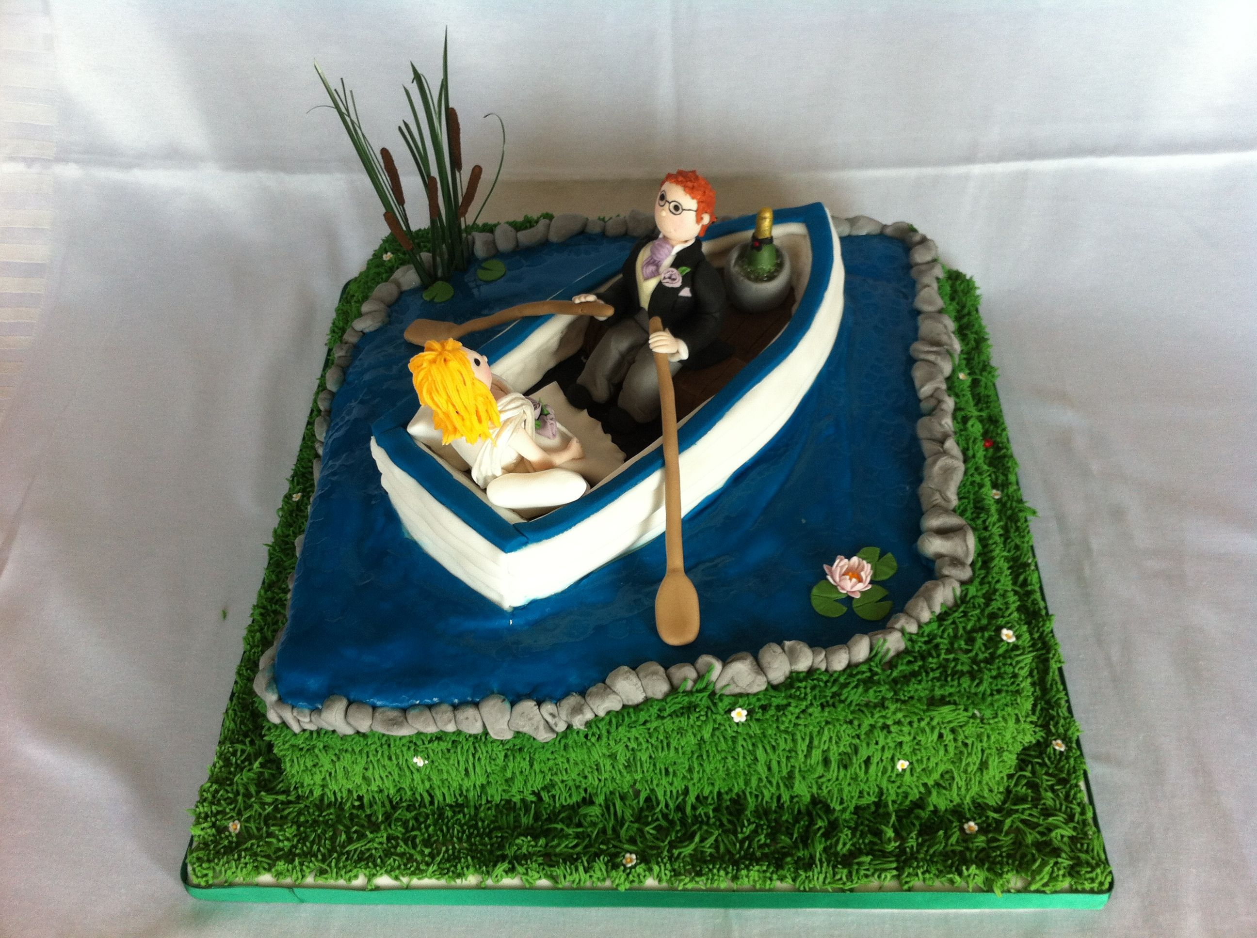 Bride And Groom In A Rowing Boat