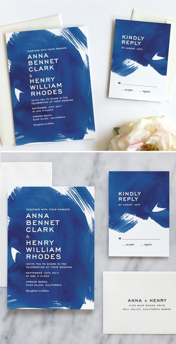 Indigo Blue Watercolor Wedding Invitations Wedding Honeymoons