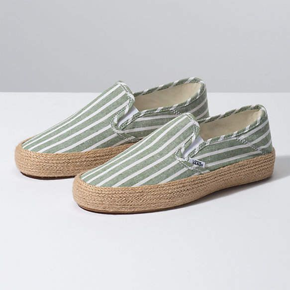 Striped Linen Slip-On Esp | Leather shoes woman, Casual ...