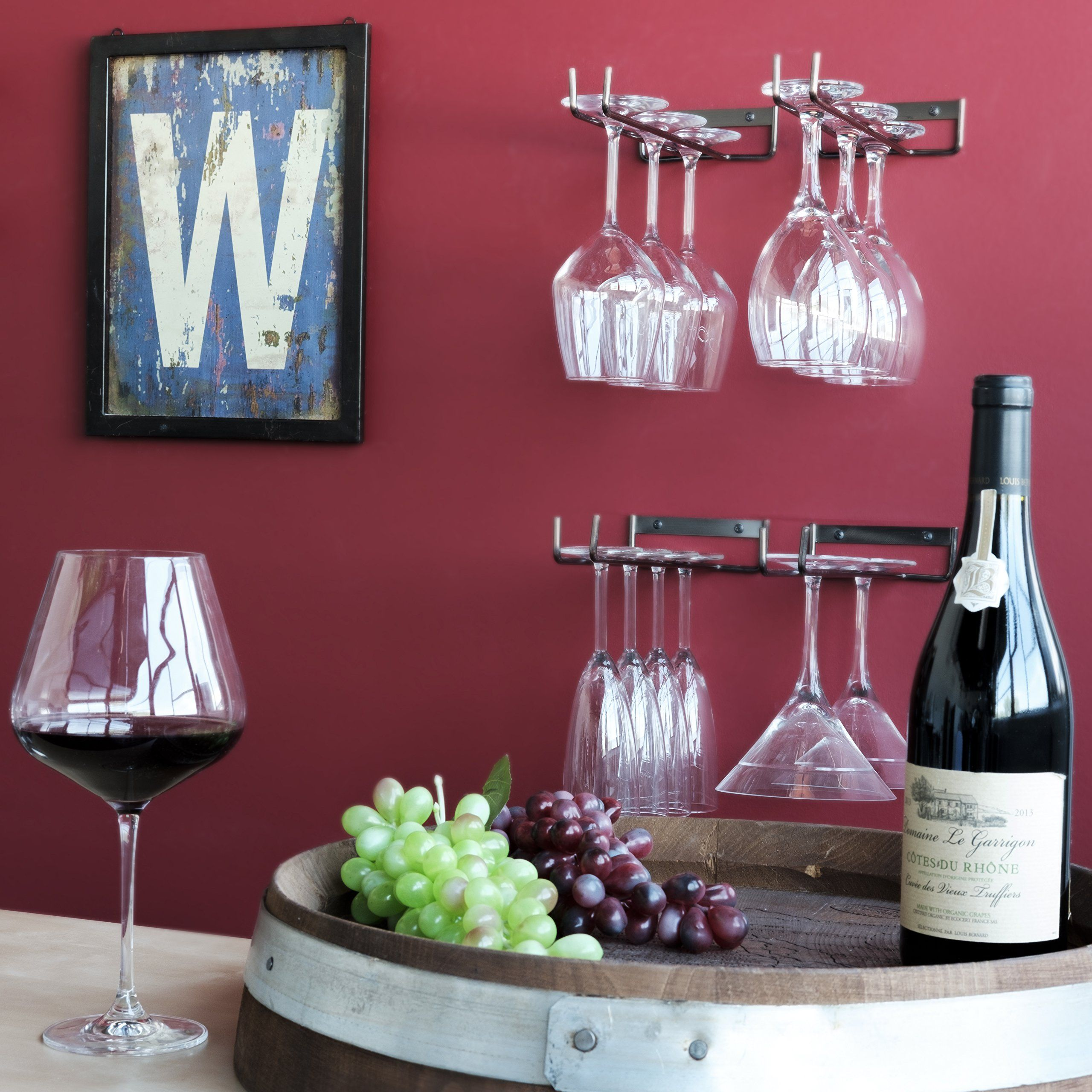 Wallniture Stemware Rack Wall Mount Wine Glass Holder Hanger Storage Oil Rubbed Set Of 4 Visit Wine Glass Hanger Wine Glass Holder Stemware Rack