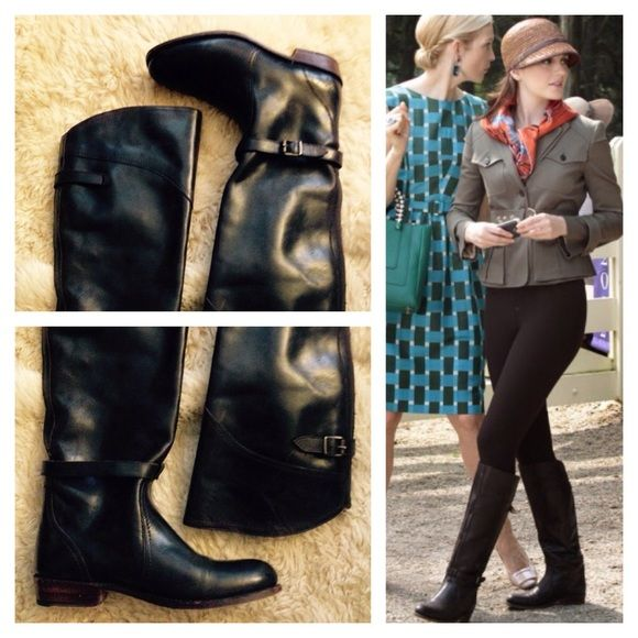 """FRYE Dorado Riding Boots Dark Brown 7 ASO Leighton Meester in Gossip Girl. Frye Dorado Riding boots in dark brown leather. Good condition throughout. Note scuff marks on shaft and upper which can be buffed out -- IMO they add to character of a Frye boot but they can be polished if you so choose. Fryes are made for a lifetime and therefore a great wardrobe investment. Shaft 16"""" from heel to top back including 1"""" heel. Circumference at the widest part / top of the shaft is 14"""" . Will buff with…"""