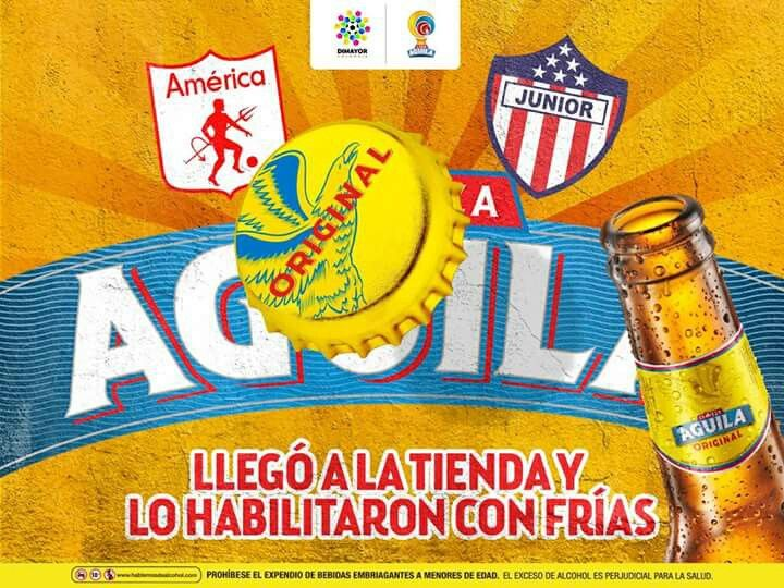 El hincha del America quedó habilitado pa'l tercer tiempo 🍺🍺 tras su primera victoria en nuestra Liga: 3-1 sobre Junior Club SA. Triplete de Martínez Borja. ⚽