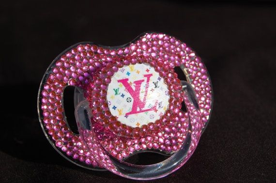 Rhinestoned Louis Vuitton Pacifier Blinky by BorntoBlingBoutique ... ae01b16498