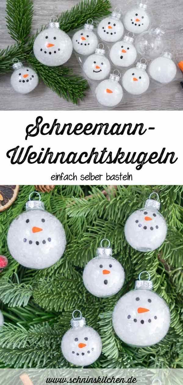DIY Schneemann-Weihnachtskugeln basteln