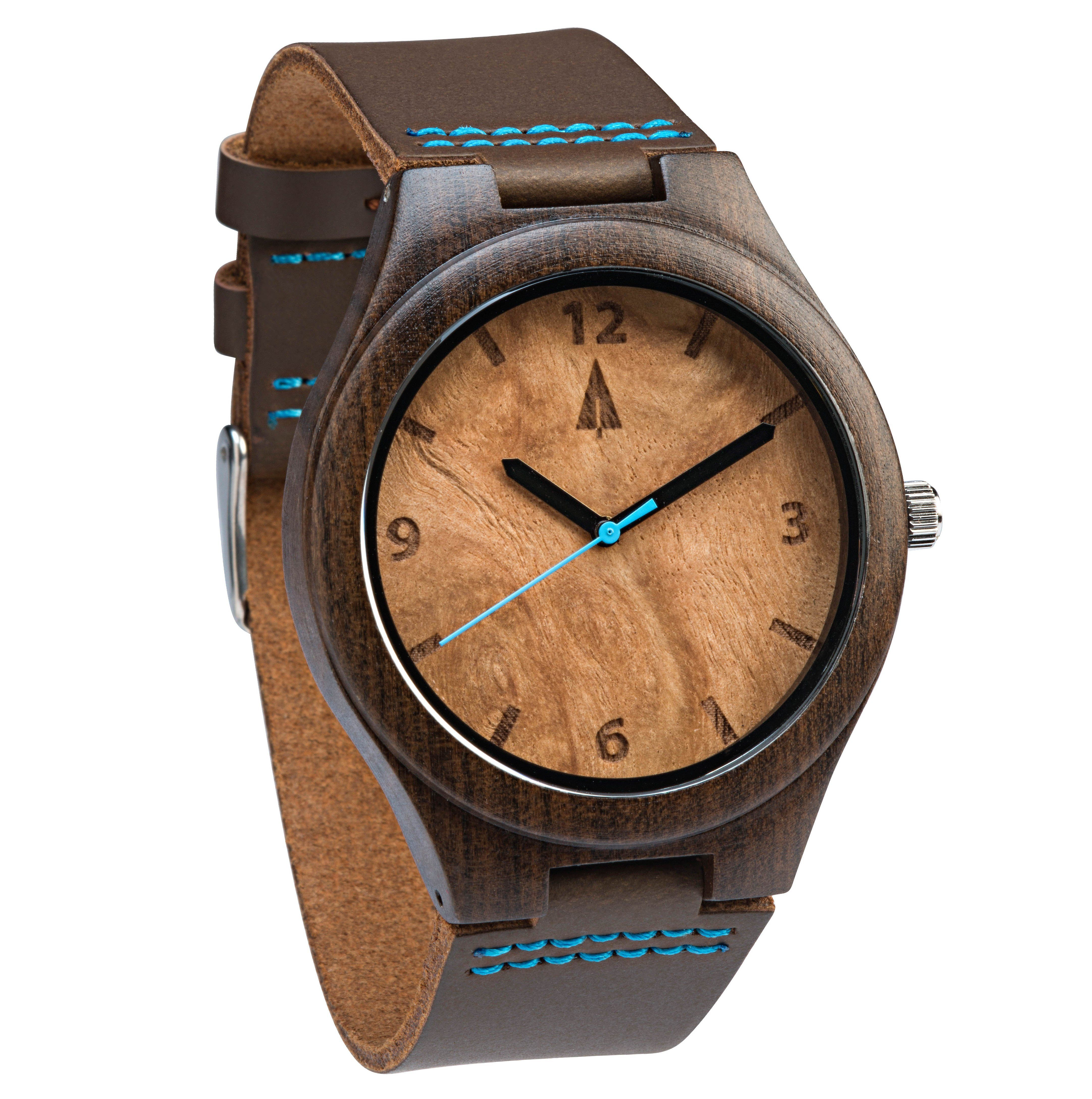 Limited Edition Iv  Ebony And Maple Burl Wood Watch