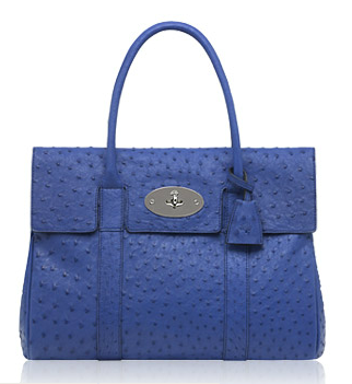 Mulberry Electric Blue Soft Ostrich Bayswater Bag